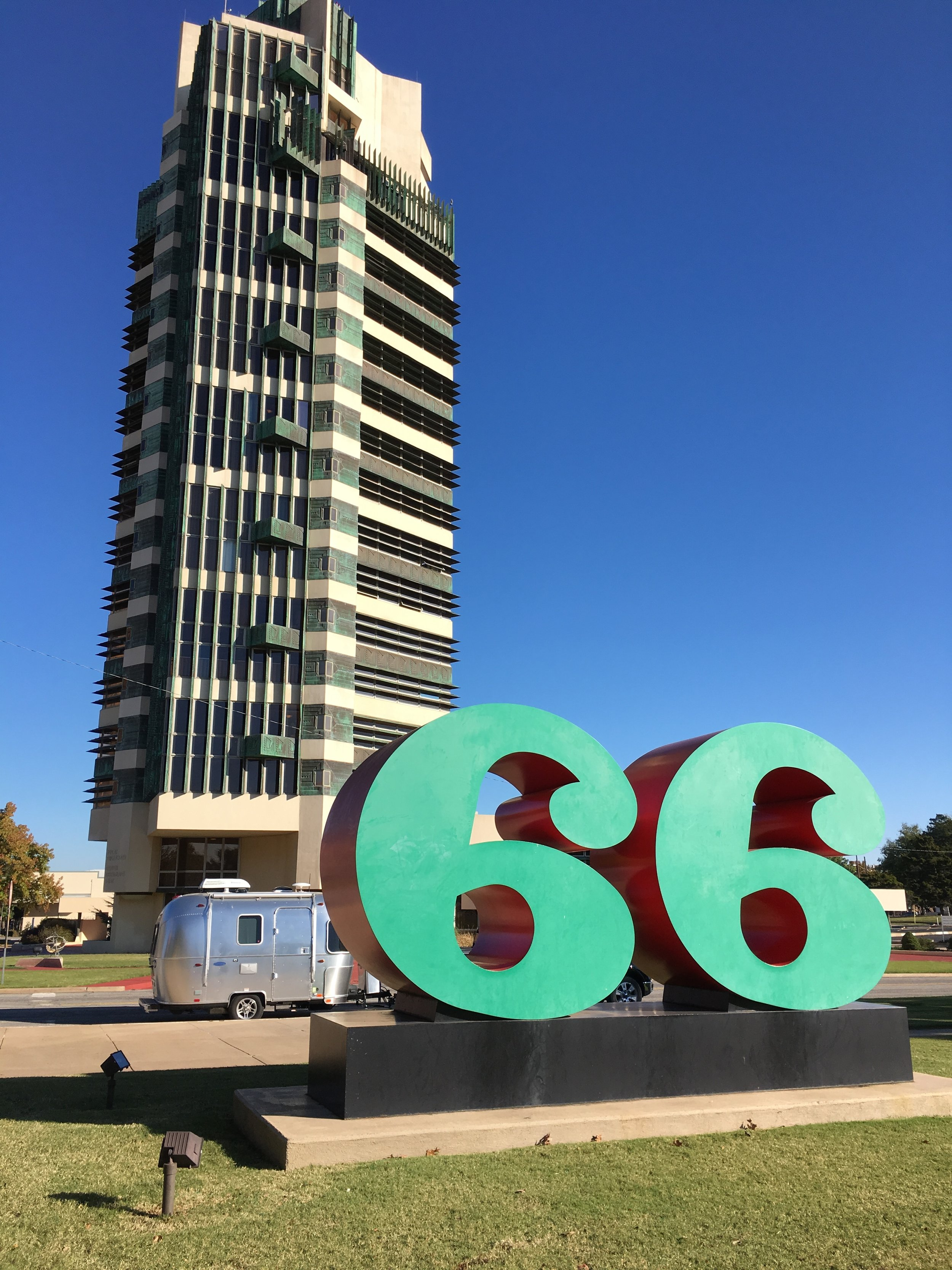Iconic design: Bambi and the Price Tower in Bartlesville, designed by Frank Lloyd Wright