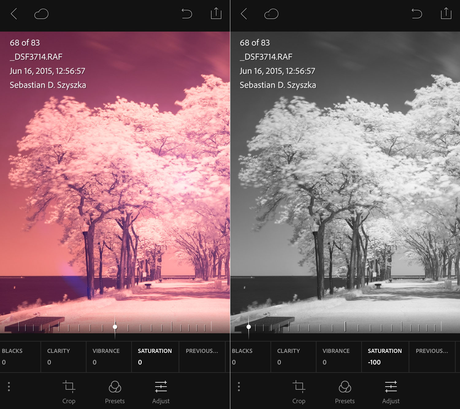 Desaturation greatly reduces the artifacts and makes post cleanup much easier.
