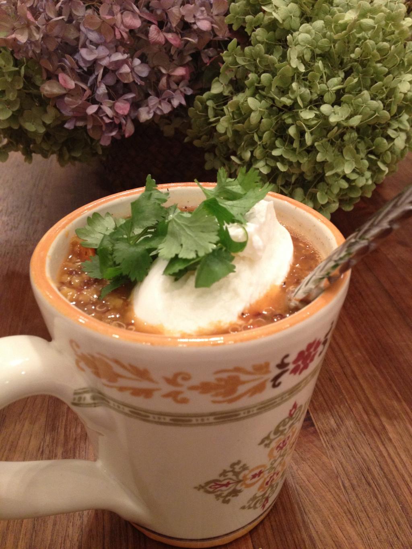 The finished product garnished with plain Greek yogurt and cilantro