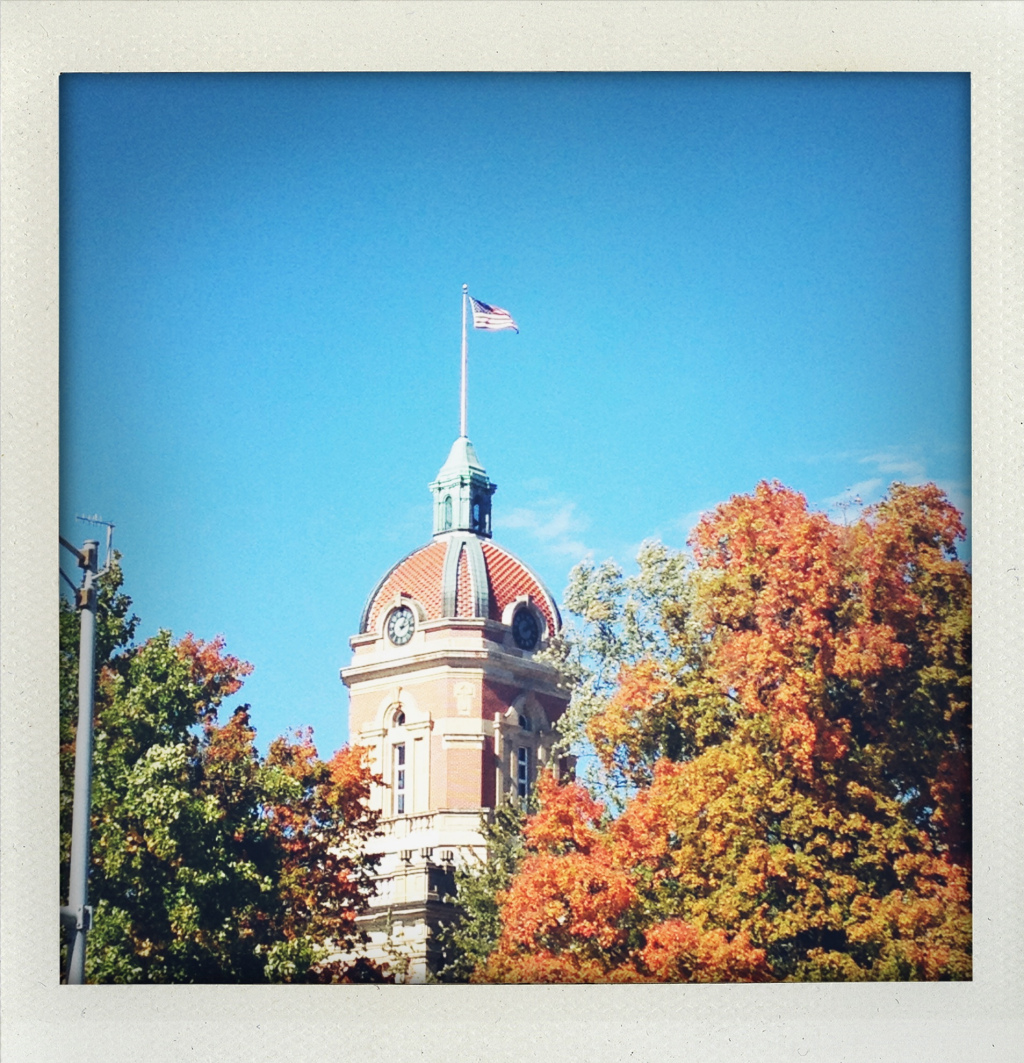 The Goshen Courthouse on a beautiful fall day.