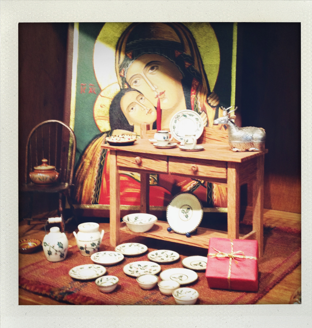 Jane's pottery displayed by one of those amazing icons.