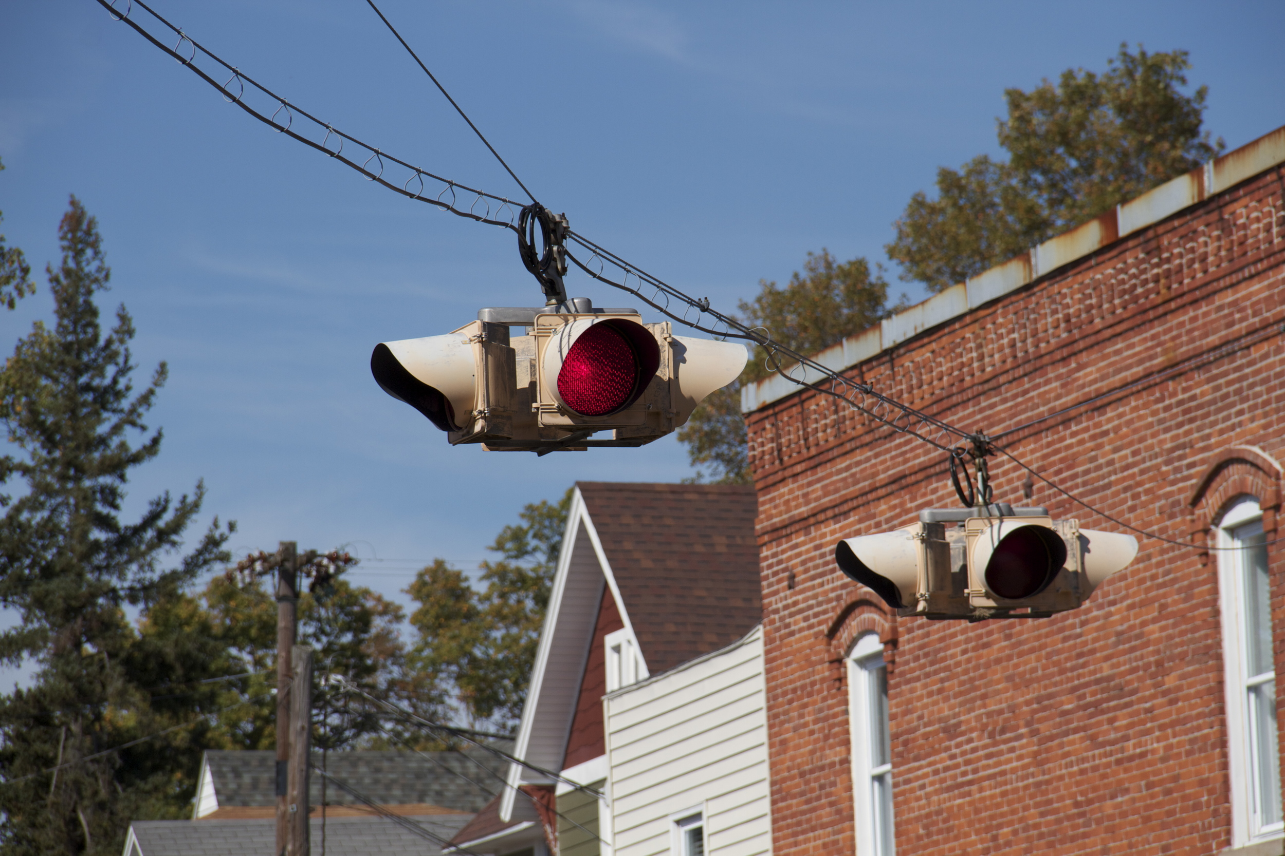 Traffic control in Roanoke, IN. No need for a traffic sign that changes colors!