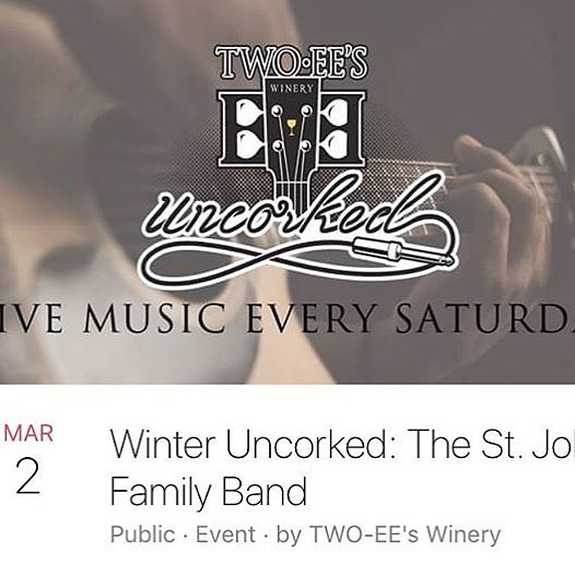 A fine way to spend your Saturday. 🍷 + 🎶 = 🤩@stjohnfamilyband and @twoeeswinery