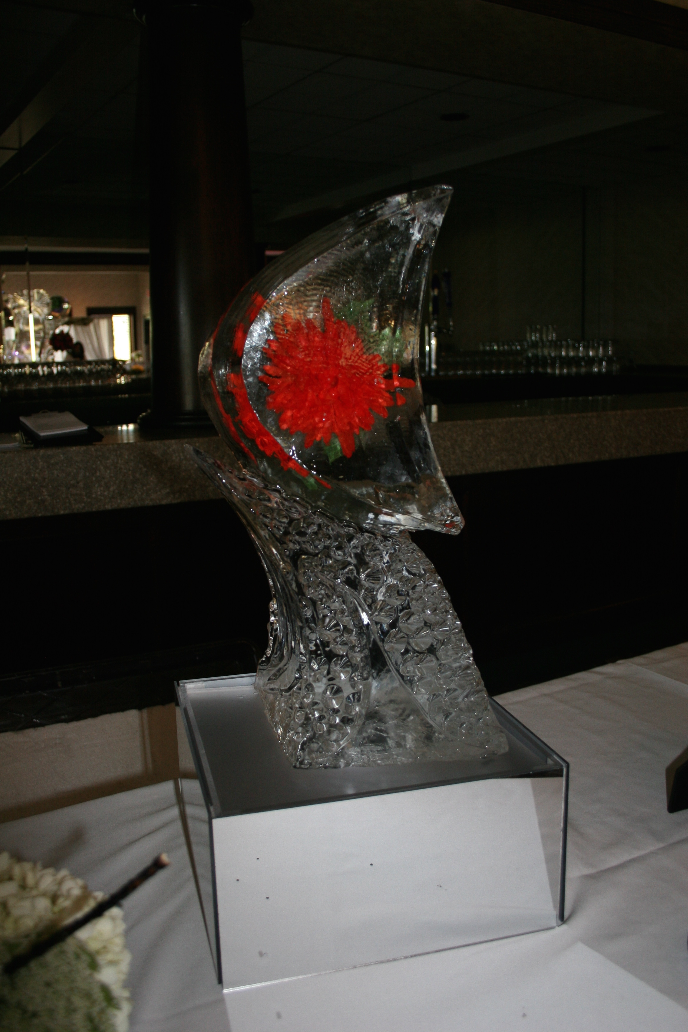 Tabletop Ice Sculpture-Red Zinnia.jpg