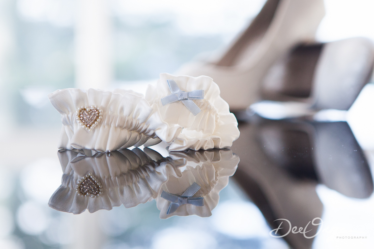 Wedding prep details - garter and shoes