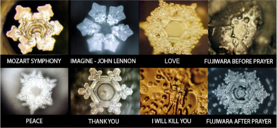 Magnified water crystals set to different energies,masaru-emoto.net(2015)