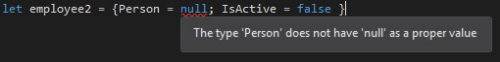 Trying to assign null to a record type.