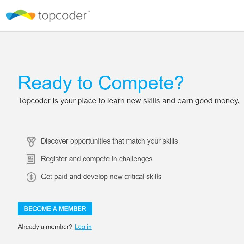 TopCoder compete login page.