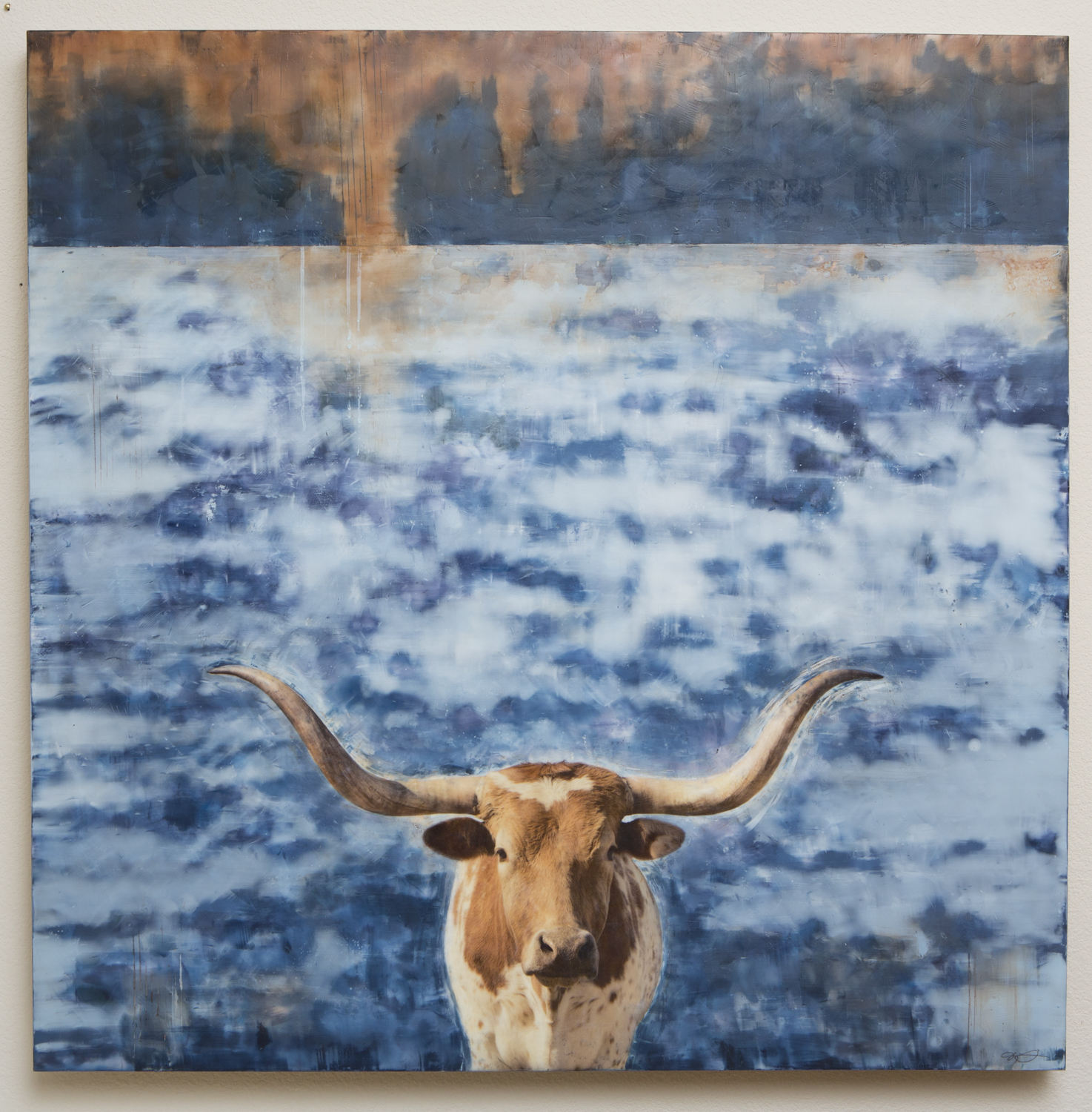 "Gaze 40""x40"" 2017  Longhorn with blues and browns. Bees wax, resin, pigments on birch panel."