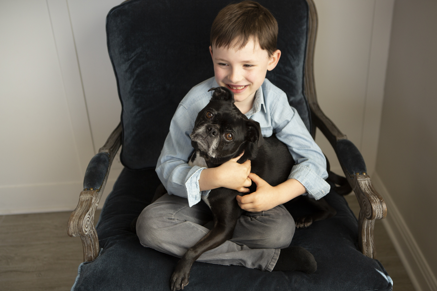I love creating images of children with pets. Often with young children these pets are the first they've known– their fur siblings. I love having the ability to capture their relationships so they have the ability to look back on them fondly when the children are grown.