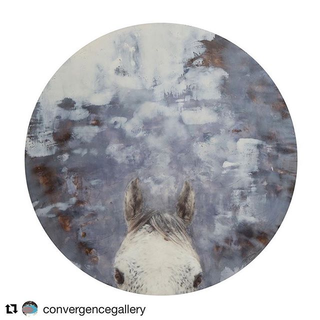 """Thankful this piece found a new home! Thank you so much @convergencegallery #Repost @convergencegallery with @get_repost ・・・ The connection between animal and human is strong.  Sometimes our animals invite us into the same dreamspace, as in Norah Levine's """"Mystical Invitation."""" This powerful artwork will reside with a fortunate collector in Montana. """"Mystical Invitation"""" is encaustic with original photography and measures 27 1/2 inches in diameter. #encausticpainting #horse #mixedmediaart #contemporaryart #norahlevine #animalart #playfulart #totemanimal #dreamspace #mystical"""
