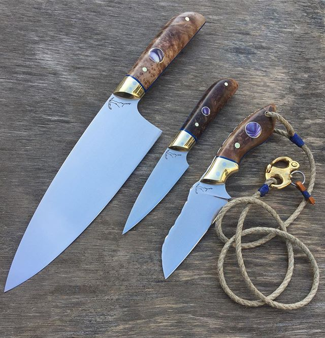 "🔪🔪🔪 Off to Brooklyn. 7""chef, 3.5"" paring, 3"" utility. Oak burl, G10, brass & quahog shell."