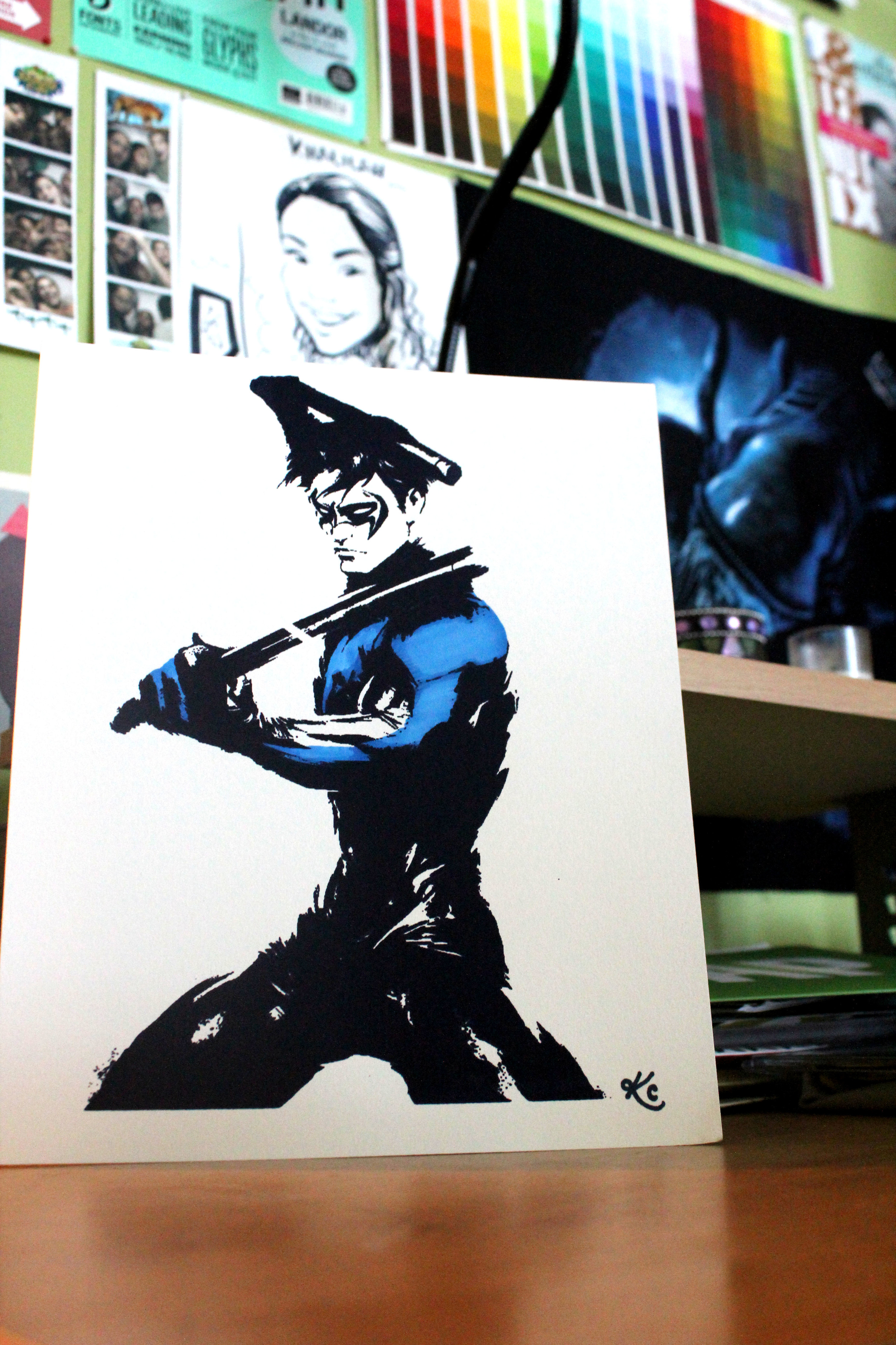 """""""Nightwing"""" Screen Print Mini Poster with Marker Ink"""