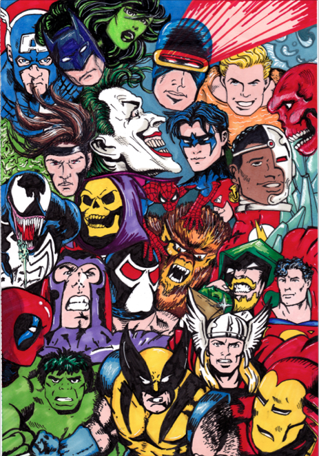 Heroes and Villians Collage | Pen and Ink