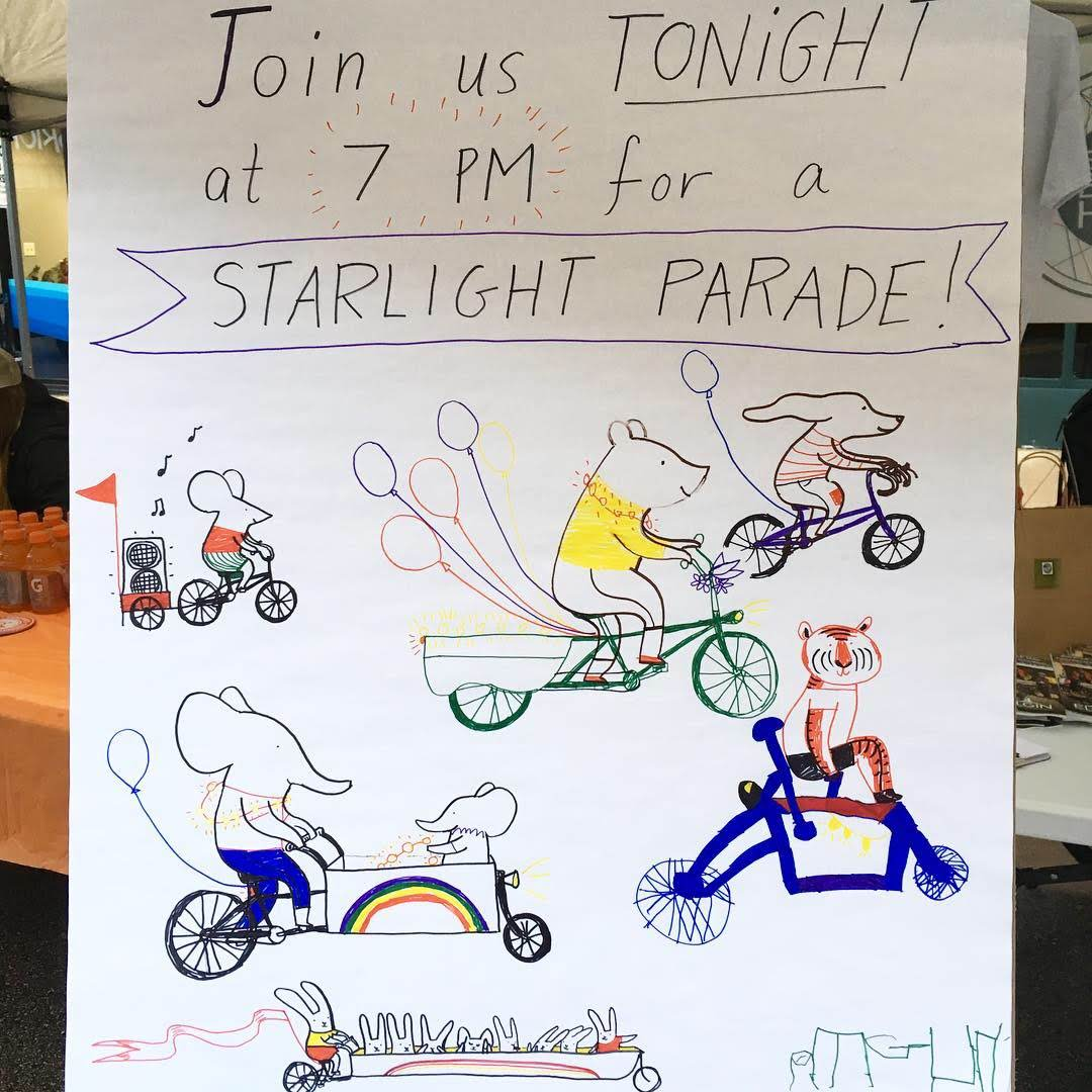 I had some small helpers drawing bikes with me to make a poster for the Starlight Parade.