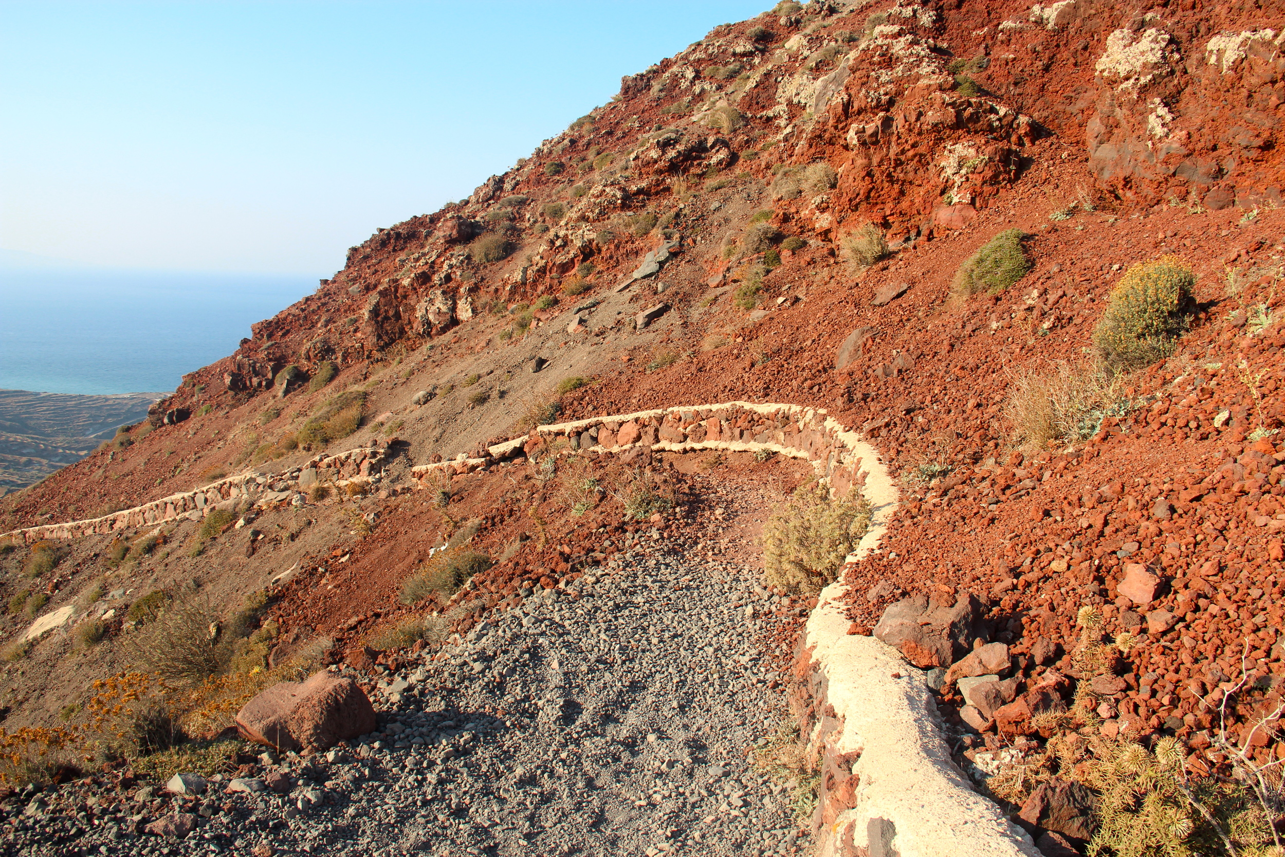 Hot rocks on the long road to Oia. Don't wear sandals.