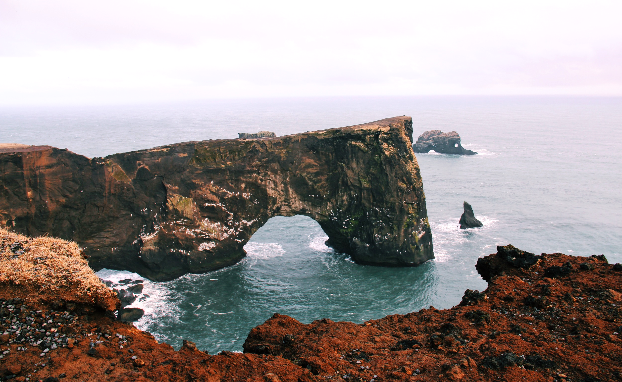 The view from Dyrhólaey lighthouse in the south of Iceland.