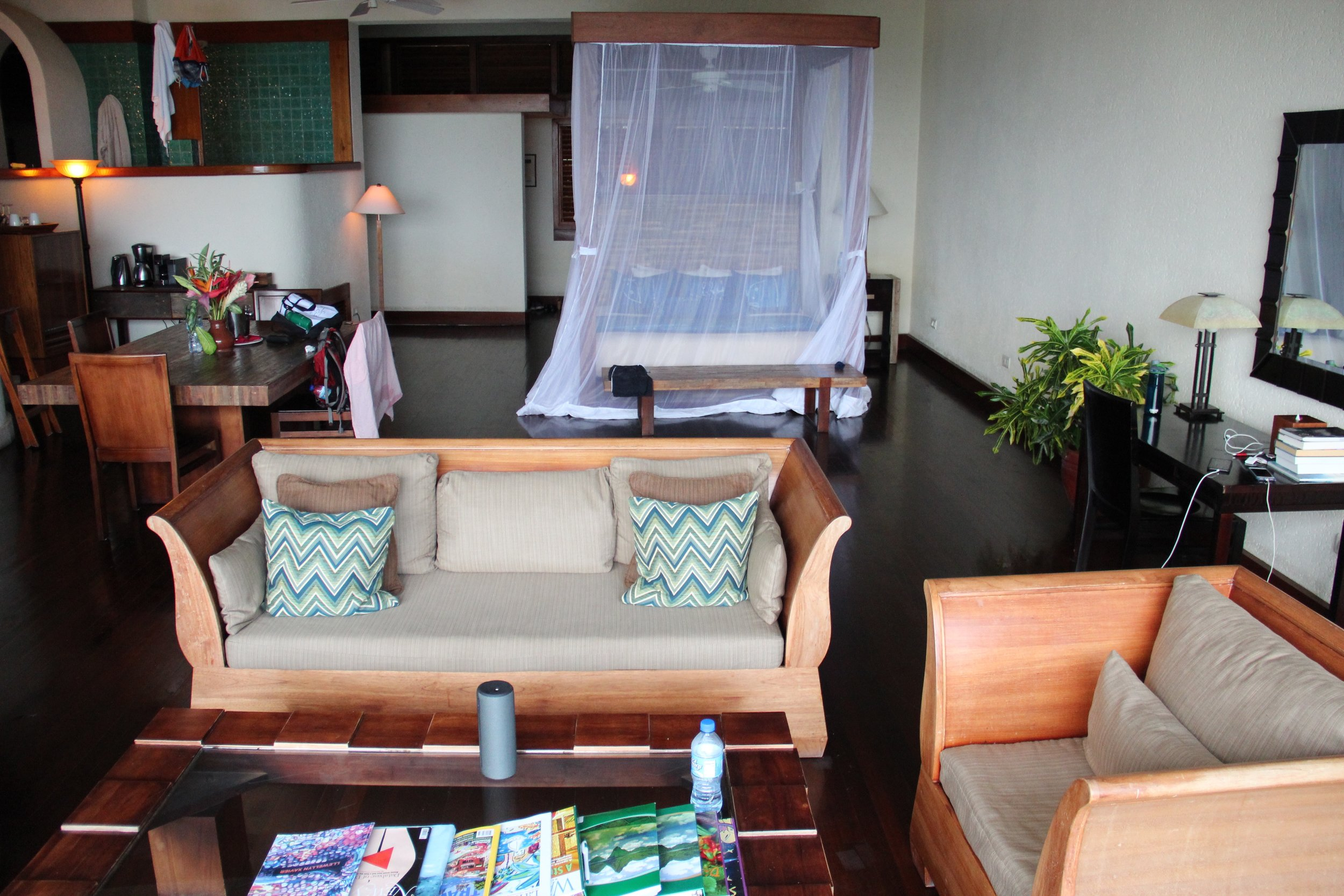 There were closets behind the bed, and a bathroom with jacuzzi on the top left platform.