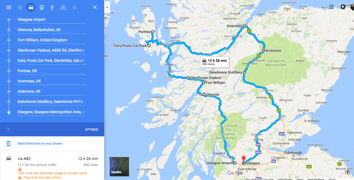 5 day road trip map scotland highlands