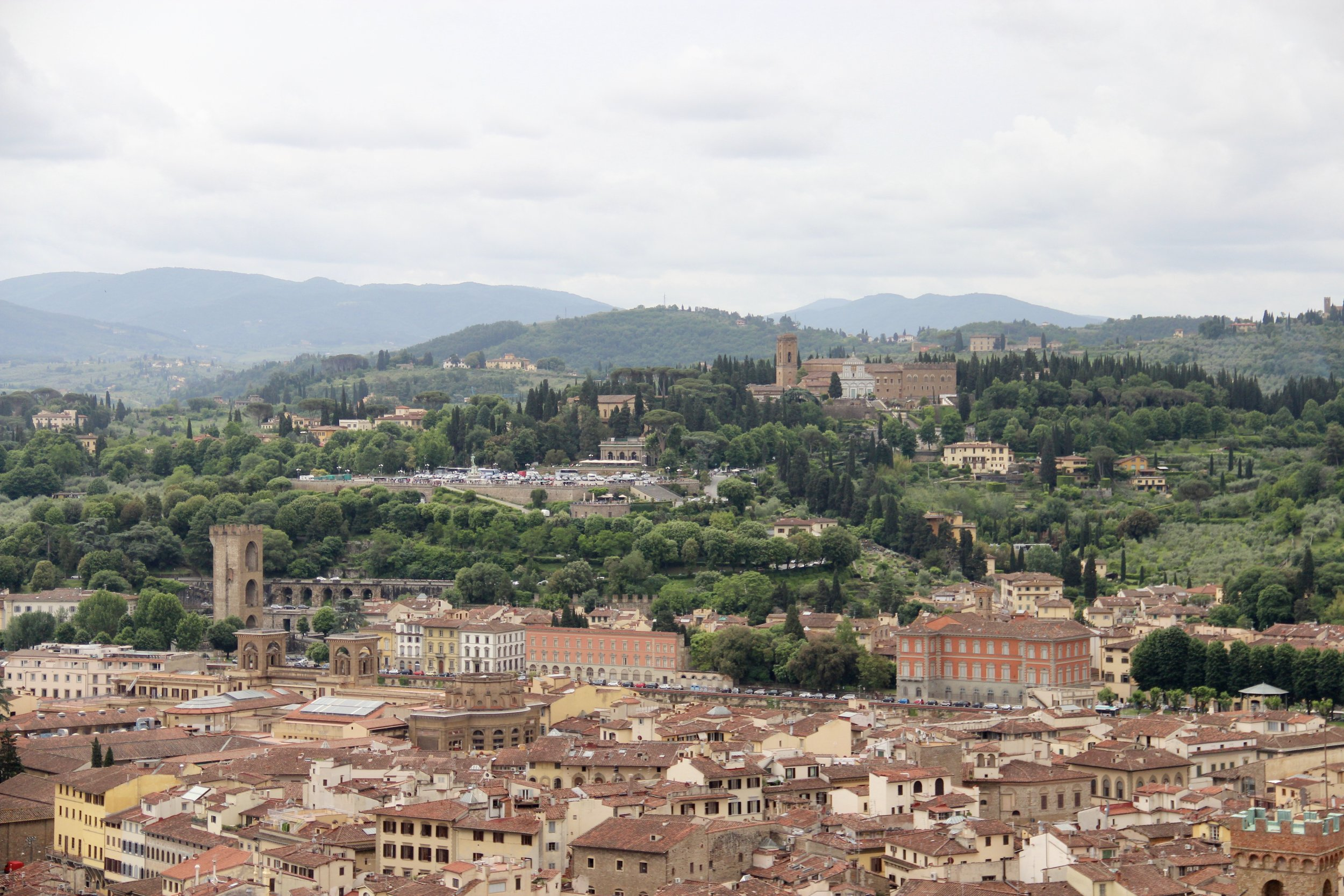On the hill is Piazzale Michelangelo, a great place to get a view of Florence. See those stairs near the parking lot in the center? We grabbed a beer and sat there post-Duomo climb.