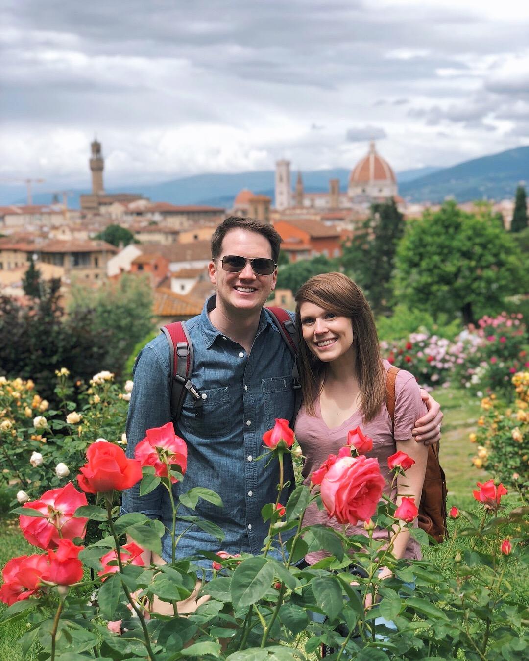 Piazzale Michelangelo's rose garden.
