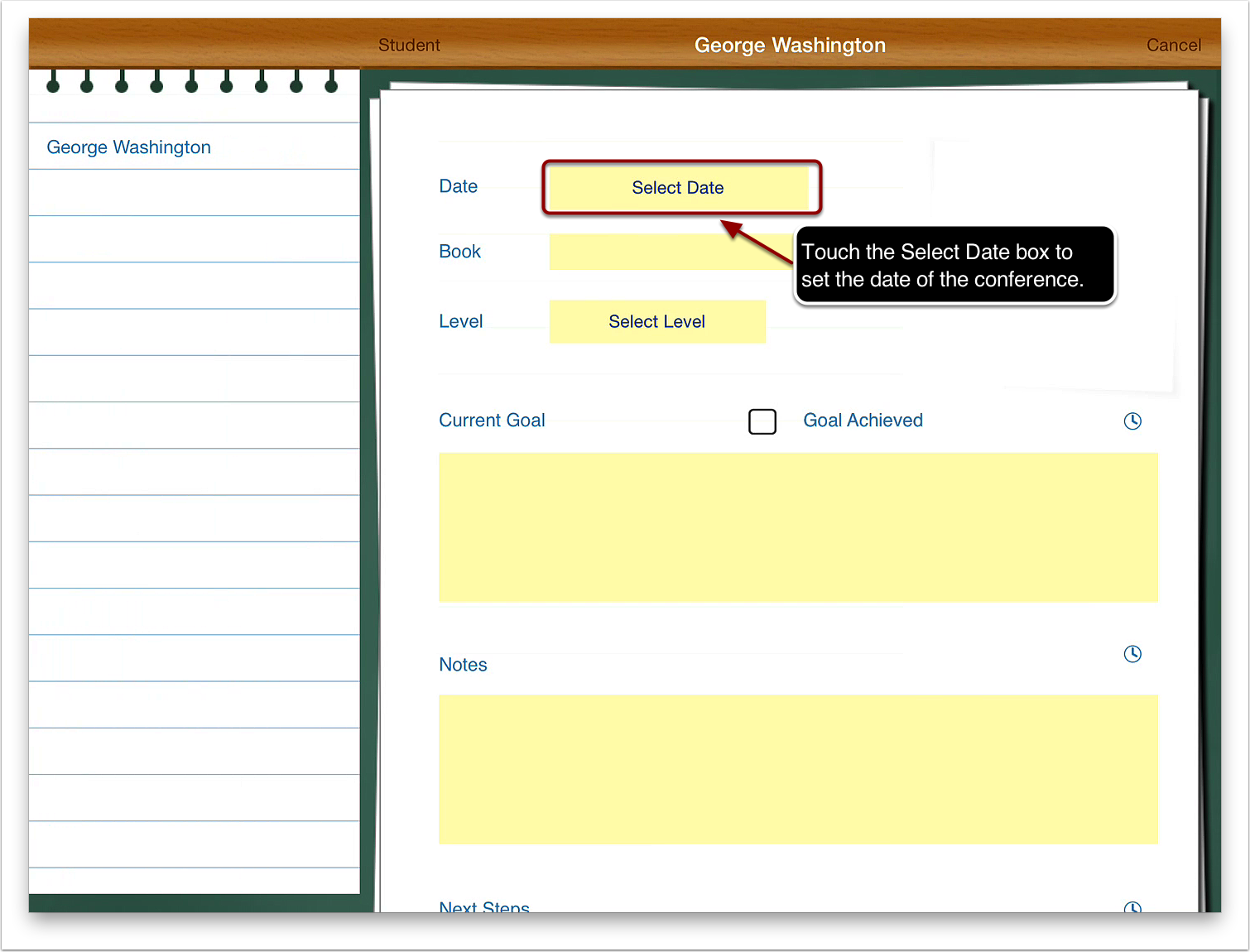 3. Touch the Select Date box to set the date of the conference.