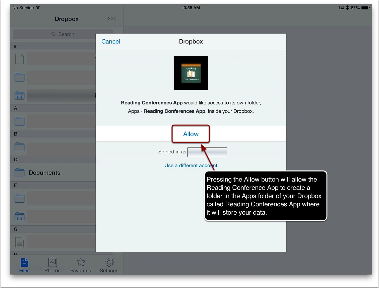 4. Dropbox will ask you to allow the Reading Conferences App to create a folder in the Apps folder of your Dropbox called Reading Conferences App where it will backup your data. Press the Allow button to give permission for this. You can press the Cancel button to refuse permission.
