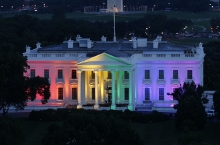 The White House decorated with rainbow lights to celebrate marriage equality and LGBTQ rights.
