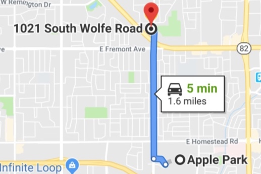 Apple Park in Cupertino to my counseling therapy office - Map