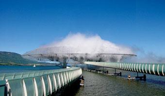 Exhibition pavilion  Blur-building  Yverdon-les-Bains, Suisse, Expo 2002 Photo Credit: Beat Widmer