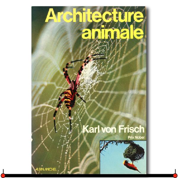 """Pour la première fois, un livre traite de !'Architecture animale dans son ensemble. Cet ouvrage du grand zoologiste Karl von Frisch, Prix Nobel de Médecine, nous fait découvrir les merveilles créées par l'instinct et !'""""imagination"""" des insectes, des poissons, des oiseaux, des mammifères ... Bien avant nos savants et nos techniciens, les termites ont mis au point différents systèmes de climatisation, creusé des puits de 40 mètres, édifié des métropoles avec leurs villes satellites et leurs """"autoroutes"""". Les guêpes ont construit des vases d'argile dont les Indiens d'Amérique se sont peut-être inspirés, et elles ont montré aux Chinois comment fabriquer du papier à partir du bois brut. Parmi les mammifères, les castors, bâtisseurs exceptionnels, sont capables de régler le niveau des eaux autour des huttes qu'ils habitent, grâce à des digues dont la longueur peut atteindre 700 mètres. Depuis des temps immémoriaux, les animaux utilisent avec une incroyable ingéniosité la pierre, le bois, les roseaux, l'argile et la cire. Ils ont inventé des portes, des fenêtres aux vitres faites de salive durcie, des trappes, des toits en surplomb, des abris au sol recouvert d'un enduit imperméable ... Ainsi l'architecture animale n'est pas moins intéressante et variée que la nôtre. Et la précision des ouvrages réalisés par les animaux peut dépasser celle de n'importe quelle construction hu111aine! Karl von Frisch nous offre, dans ce livre magnifiquement illustré, une vision fascinante de l'activité créatrice des animaux. Une activité où l'instinct joue le rôle capital, mais qui nous apparaît de plus en plus chargée de mystère à mesure que nous apprenons à la connaître.  pour acheter le livre en Europe  Amazon.fr  pour acheter le livre AU CANADA  AMAZON.CA"""