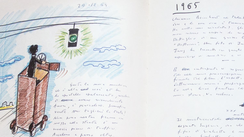 Dessin Frederico Fellini, Le livre de mes rêves.