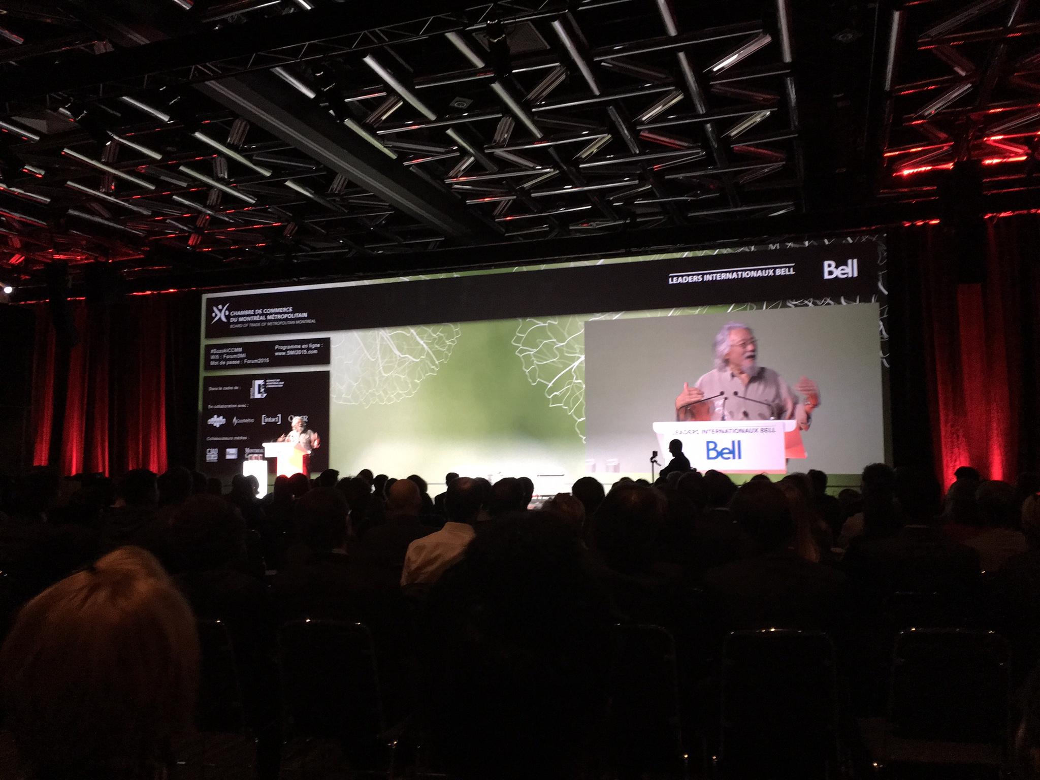 Conférence de David Suzuki à Montréal, 30 novembre 2016.Apprendre de la nature par Sylvie Gendreau, Votre laboratoire créatif.