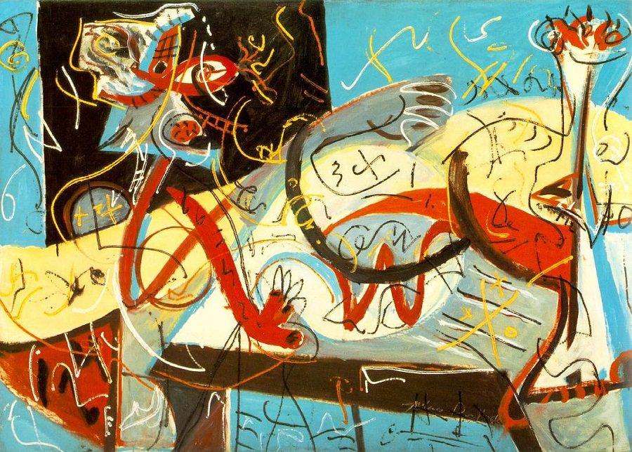 Photo : Stenographic Figure, 1943 by Jackson Pollock, courtesy of www.Jackson-Pollock.org. Les leçons de Jackson Pollock : Hasard et contemplation, par Sylvie Gendreau, Votre laboratoire créatif