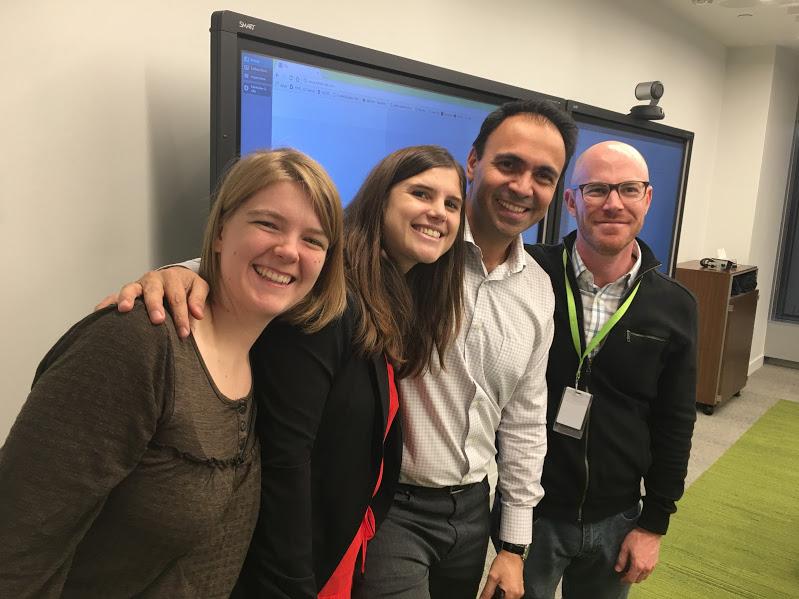 De gauche à droite, Stéphanie Pataracchia, Isabelle Lusseyran, Federico Puebla et Noah Redler lors de la soirée organisée par Deloitte pour coacher les participants pour de meilleurs pitches.
