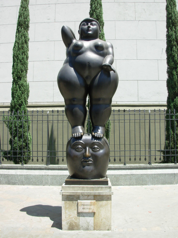 Fernando Botero - Sculpture - Curvy & Voluptuous - Woman on a man's head.
