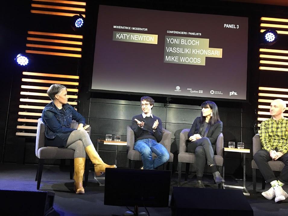 Katy Newton, Yoni Boch, Vassiliki Khnosari et Mike Woods.  Les storytellers de demain au Centre PHI  par Sylvie Gendreau, Votre laboratoire créatif.