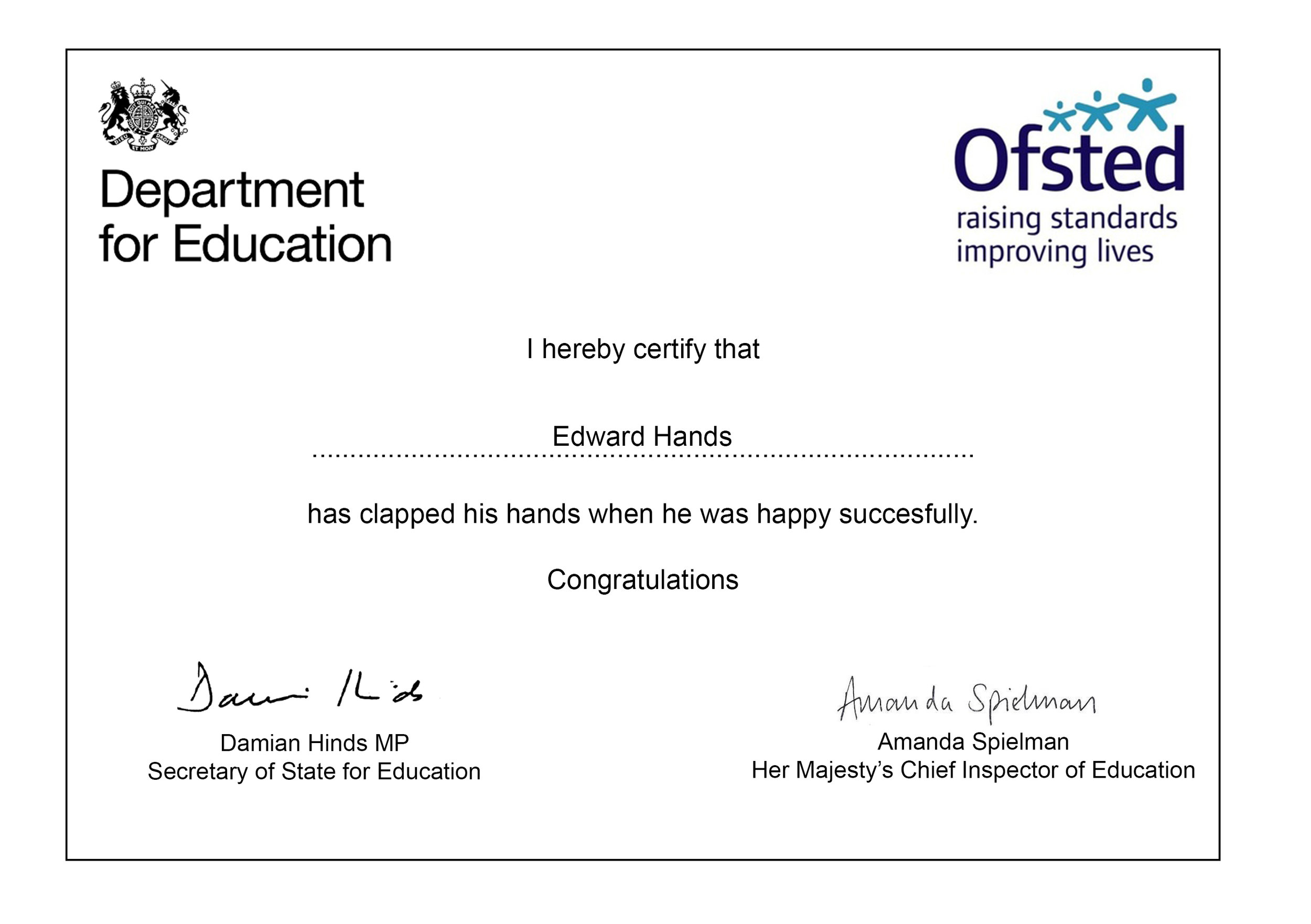 If you're happy and you know it Certificate