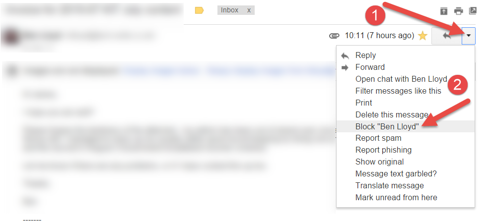 Block email with two clicks