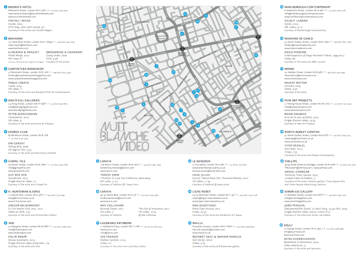 Download Map of Nuit Blanche Video Trail 2014 HERE