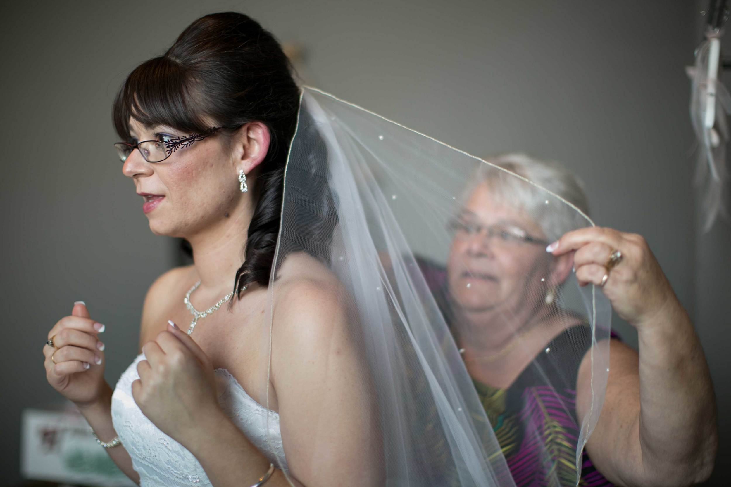 11, 12 & 13. THREE BRIDES ADJUST THEIR CHOSEN HEADWEAR ... A VEIL....