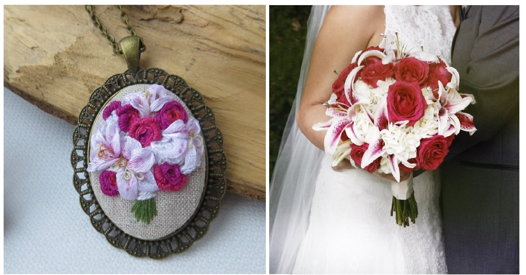 Bridal Bouquet Embroidery - There is some debate on whether the 4th anniversary gift is supposed to be flowers or linen. So why not get a gift that covers both?! Just send a picture of the bridal bouquet from your big day and Miss Konvalia will hand embroider a replica that makes the most sentimental keepsake ever!