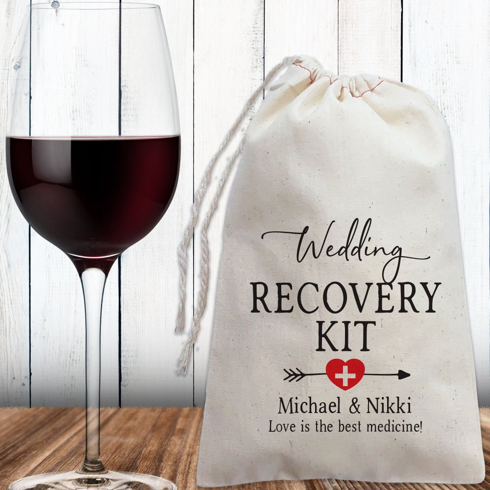 4. Recovery Kit - Fill these adorable canvas bags with goodies like advil, tums, bottled water, candy, and anything else you crave when hungover. Thank your guests with this gift tonight and they'll be thanking YOU tomorrow.