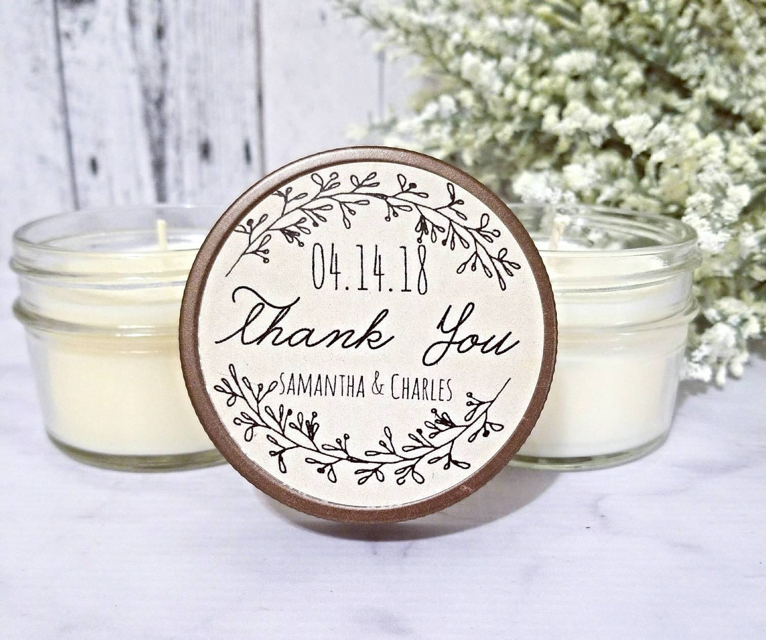 1. Customized Candles - Send your guests home with a sweet scented candle that will bring back memories of that special day whenever they light it!