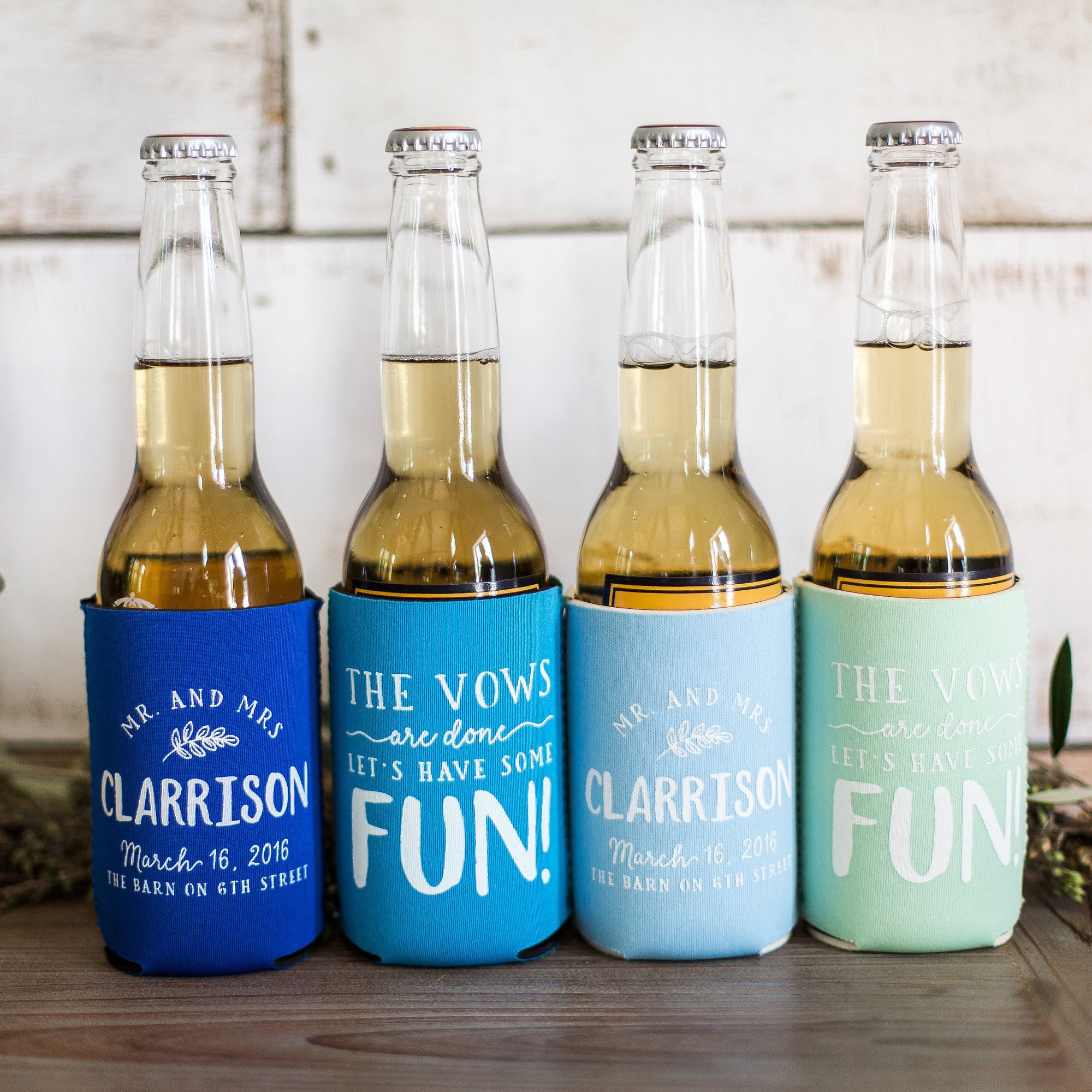 8. Koozies - Make every guests' drink festive with these wedding koozies and send them home with a souvenir they'll use year after year!