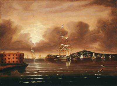 Thomas Chambers, Threatening Sky, Bay of New York, c. 1835-50, Oil on canvas, 18 1/8 x 24 1/4 inches (46 x 61.6 cm), National Gallery of Art, Washington, D.C., 365-2008-5, Photo courtesy: Board of Trustees, National Gallery of Art, Washington D.C.