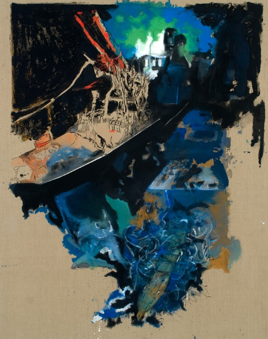"""Home,"" Acrylic & bleach on linen, 46″x60″, 2009"