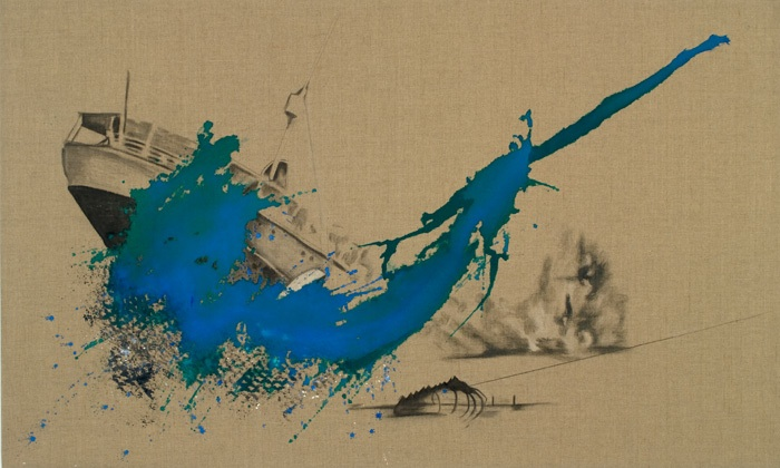 """Poaching,"" Acrylic & bleach on linen, 36″x60″, 2009."