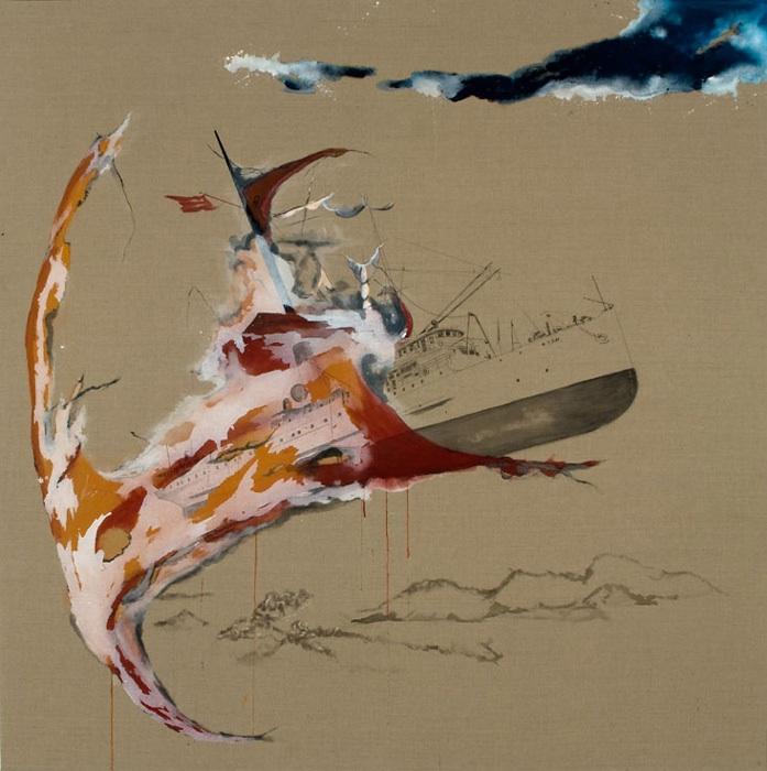 """""""Great Island III,"""" Acrylic and linen, 76″x76″, 2009"""