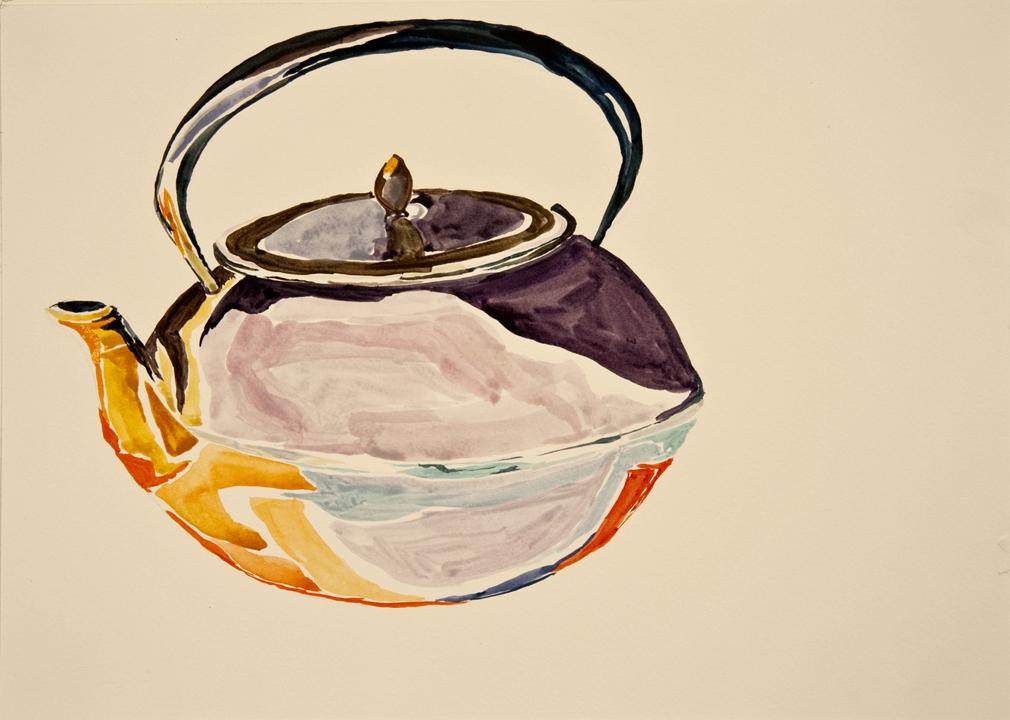 """""""UnderWater Teapot #1,"""" 2011. Watercolor."""